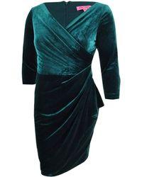 Betsey Johnson Trendy Plus Size Velvet Wrap Dress - Black