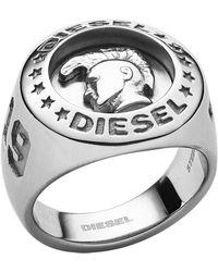 DIESEL Ring Edelstahl 60 Silber 32012390 - Mettallic