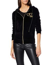 Love Moschino Hooded Long Sleeve Jacket_Core Logo Embroidery Sweat-Shirt À Capuche, - Noir