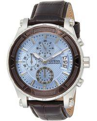 Guess Reloj cronógrafo para Hombre de Cuarzo con Correa en Piel W0673G1 - Azul