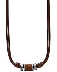 Fossil JF00899797- Collana VINTAGE CASUAL in pelle marrone