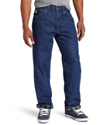 Carhartt Relaxed Fit Straight Leg Flannel Lined Jean - Blue
