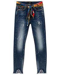 Desigual Rainbow Skinny Jeans, Blau (Denim Dark Blue 5008)