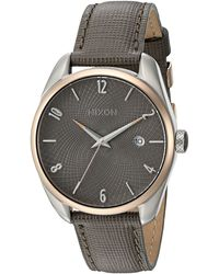 Nixon - 'bullet' Quartz Stainless Steel And Leather Casual Watch - Lyst