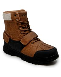 Nautica Kressler Lace Up Adjustable Strap Winter Snow Boots Insulated Water Resistant Shoe - Braun