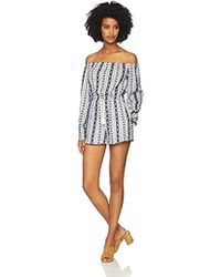 Cupcakes And Cashmere Amani Embroidered Off The Shoulder Romper - White