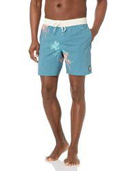 Volcom 17-inch Elastic Waist Surf Swim Trunks - Blue