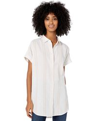 Goodthreads Washed Cotton Short-Sleeve Tunic button-down-shirts - Blanc