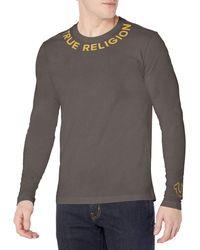True Religion Roots Long Sleeve Crew Neck Tee T-Shirt - Bianco