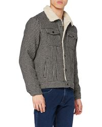 Scotch & Soda Sherpa Lined Wool-Blend Houndstooth Trucker Jacket Giacca - Grigio