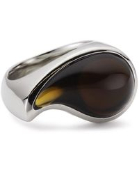 Esprit Ring - Stainless Steel - Esrg11567e - Drip Drop Glass 17.73 G - Brown - Multicolour