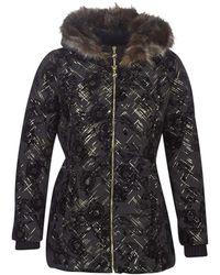 Desigual Black Gold Padded Eylau Metallic & Velvet Coat 42