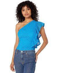 BCBGMAXAZRIA Bcbg One Shoulder Striped Lace Bodysuit - Blue