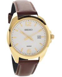 Seiko Quartz Gents Leather Strap Watch - Metallizzato