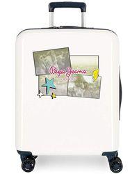 Pepe Jeans Estela Set Of Suitcases White 55/70 Cm Rigid Abs Integrated Tsa Closure 119.4 L 7.2 Kg 4 Wheels Double Hand Luggage
