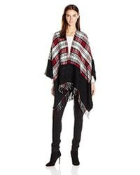 Ellen Tracy - Blocked Plaid Reversible Ruana - Lyst