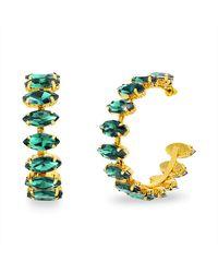 Steve Madden Green Rhinestone Marquise Hoop Earrings for - Verde