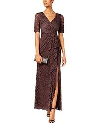 Adrianna Papell Paisley St. Lace Long Dress With Draped Skirt - Purple