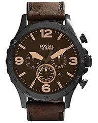 Fossil - Nate Watch In Blacktone With Dark Brown Leather Strap - Lyst
