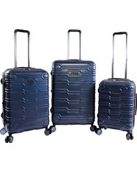 Original Penguin Collins 3 Piece Set Expandable Suitcase With Spinner Wheels - Blue