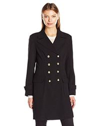 Vince Camuto - Double-breasted Coat With Patch Pockets - Lyst