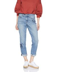 NYDJ Petite Size Boyfriend Jean With Floral Embroidery - Blue