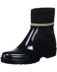 Tommy Hilfiger Knitted Sock Rain Boot, Botas de Agua para Mujer - Negro