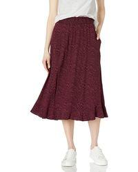 Goodthreads Gonna Midi in Twill Fluido Facile da Pull-on Skirts - Rosso