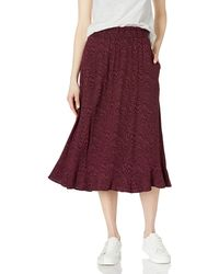 Goodthreads Easy Pull-on Fluid Twill Midi Skirt - Red