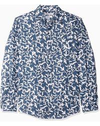 Amazon Essentials – Chemise à manches longues et coupe ajustée en lin pour homme Motif rayures - Bleu
