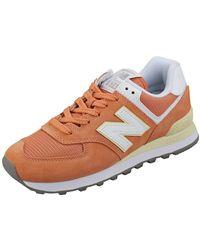 New Balance - Womens 574 Orange Classic Trainers - Lyst