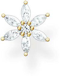 Thomas Sabo Clou d'oreille unique fleur pierres blanches or Argent Sterling 925 - Métallisé