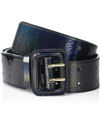 The Drop @lisadnyc Patent Faux Leather Wide Belt - Black
