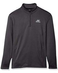 Skechers Go Walk Momentum 1/4 Zip Mock Neck Twill Back Fleece Jacket - Gray