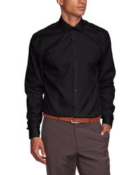 Calvin Klein Herren Regular Fit Business Hemd CANNES SPREAD FITTED FTC - Negro