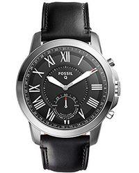 Fossil - Hybrid Smart Watch - Q Grant Black Leather - Lyst