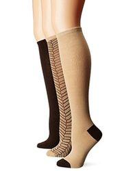 Anne Klein Sophisticated Herringbone Knee High Socks 3-pack - Multicolor