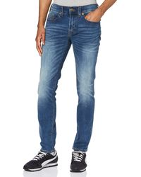True Religion Rocco No Flap Single Needle Slim Jeans - Blu
