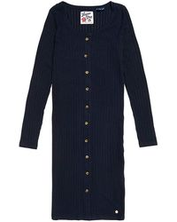 Superdry Button Down Rib Mini Dress UK 10 Reg Deep Navy - Bleu