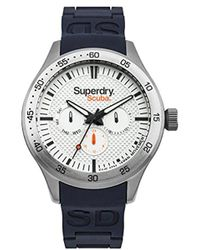 Superdry - 'scuba' Quartz Metal And Silicone Casual Watch, Color:grey (model: Syg210u) - Lyst