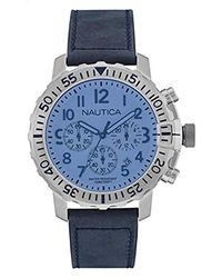 Nautica Chronographe Quartz Montre avec Bracelet en Cuir NAI19534G - Bleu