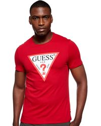 Guess Triangle Logo Front T-Shirt | Red X.S TLRD - Rouge