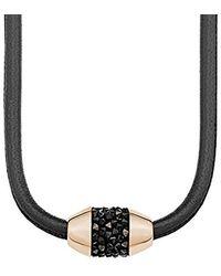 S.oliver Kette mit Anhänger Swarovksi Elements IP Rose Halsband Edelstahl Leder Kristall braun 45 cm-2012522 - Schwarz
