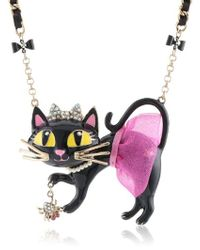 Betsey Johnson - Enchanted Forest Cat Tutu Pendant Necklace Pink Pendant Necklace - Lyst