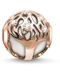 Thomas Sabo - Bead Tree Karma Beads 925 Sterling Silver 18k Rose Gold Plating Zirconia White K0169-841-14 - Lyst