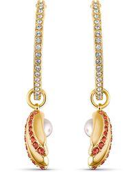 Swarovski Shell Pearl Hoop Pierced Earrings - Metallic