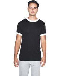 American Apparel 50/50 Crewneck Short Sleeve Ringer T-shirt - Black