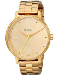 Nixon Kensington Neon Yellow Quartz Watch With Gold Dial Analogue Display And Gold Stainless Steel Bracelet A0991900-00 - Metallic