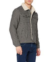 Scotch & Soda Sherpa Lined Wool-Blend Houndstooth Trucker Jacket Giacca - Grigio