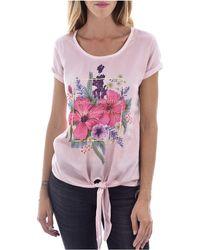 Guess Tee Shirt à imprimé Fleuri Jeans - Violet